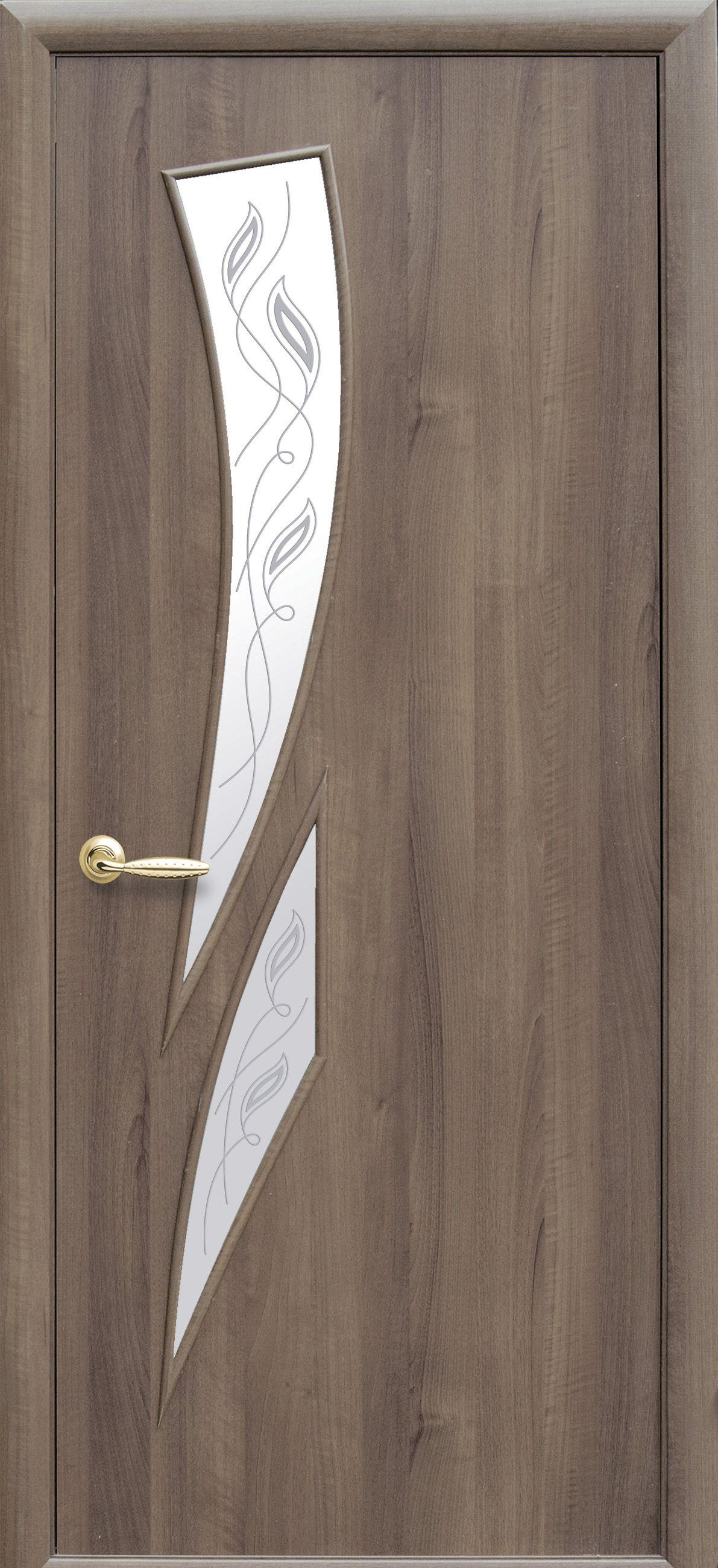 Межкомнатные двери Камея со стеклом сатин и рисунком Р2