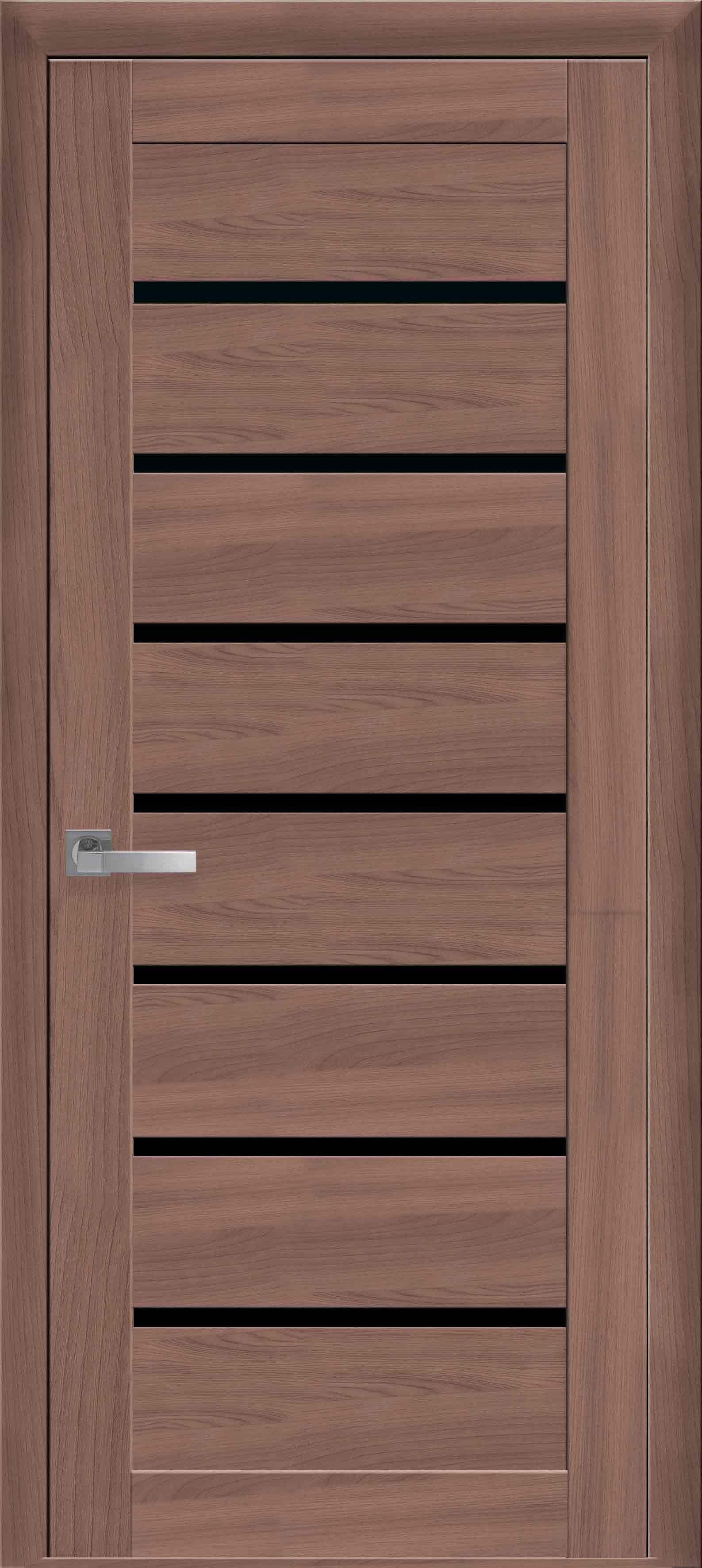 Межкомнатные двери Леона с черным стеклом
