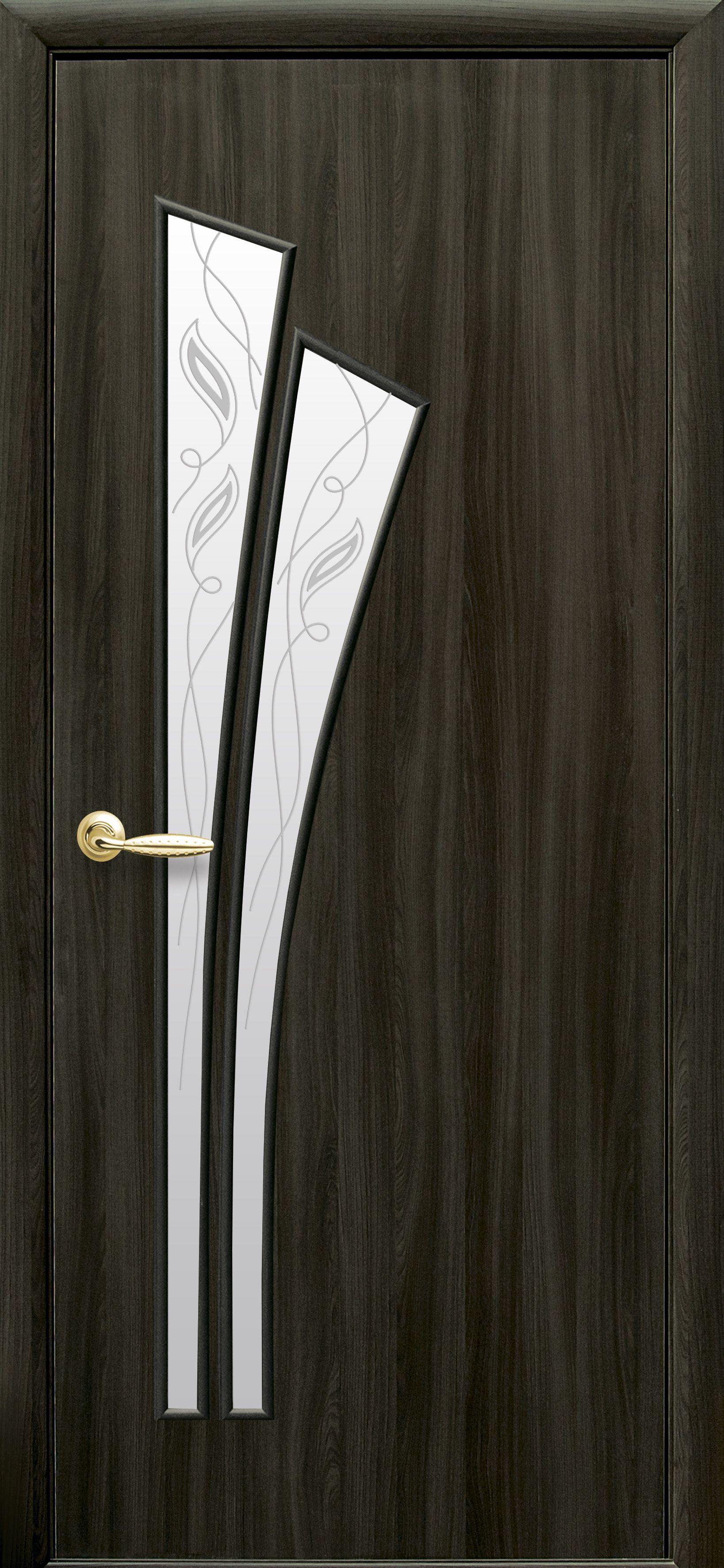 Межкомнатные двери Лилия со стеклом сатин и рисунком Р2