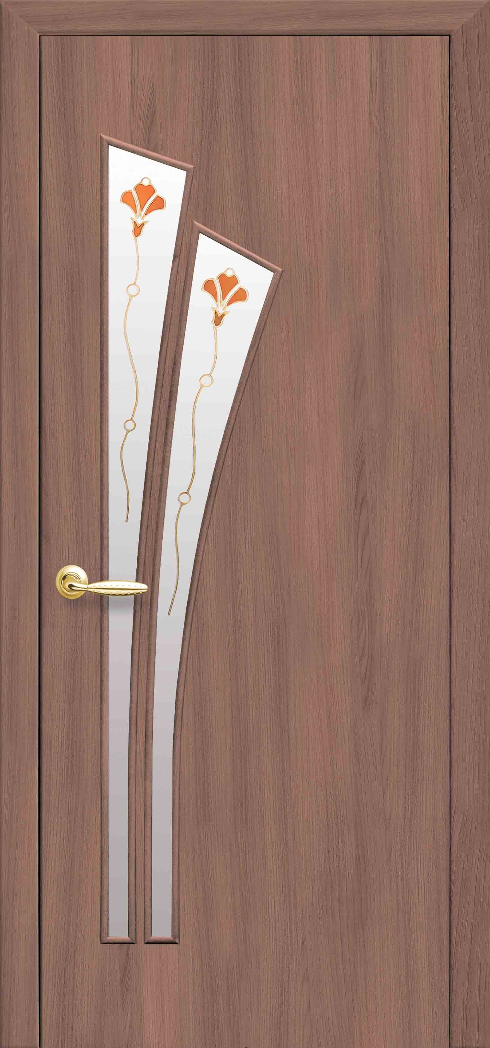 Межкомнатные двери Лилия со стеклом сатин и рисунком Р1