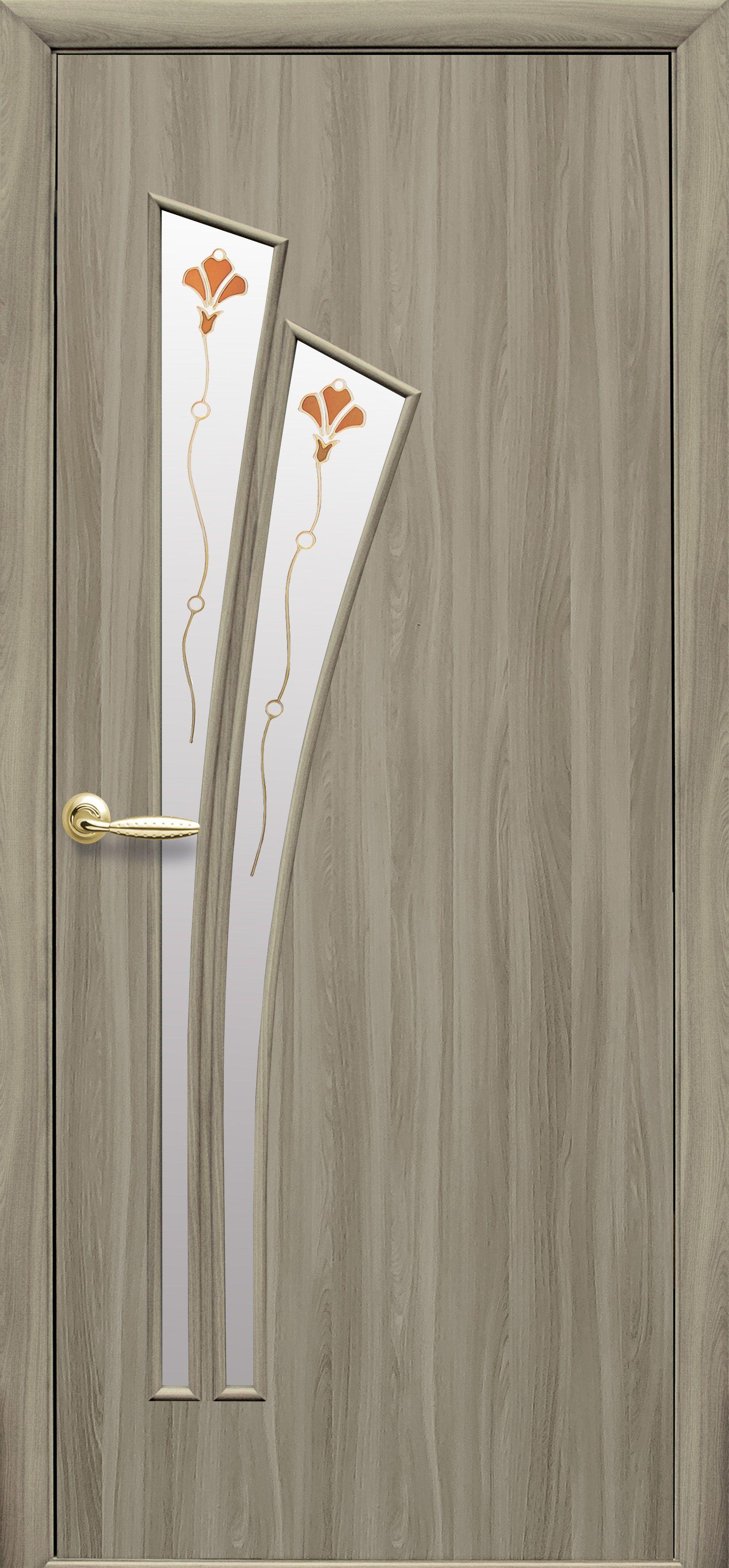 Межкомнатные двери Лилия со стеклом сатин и рисунком