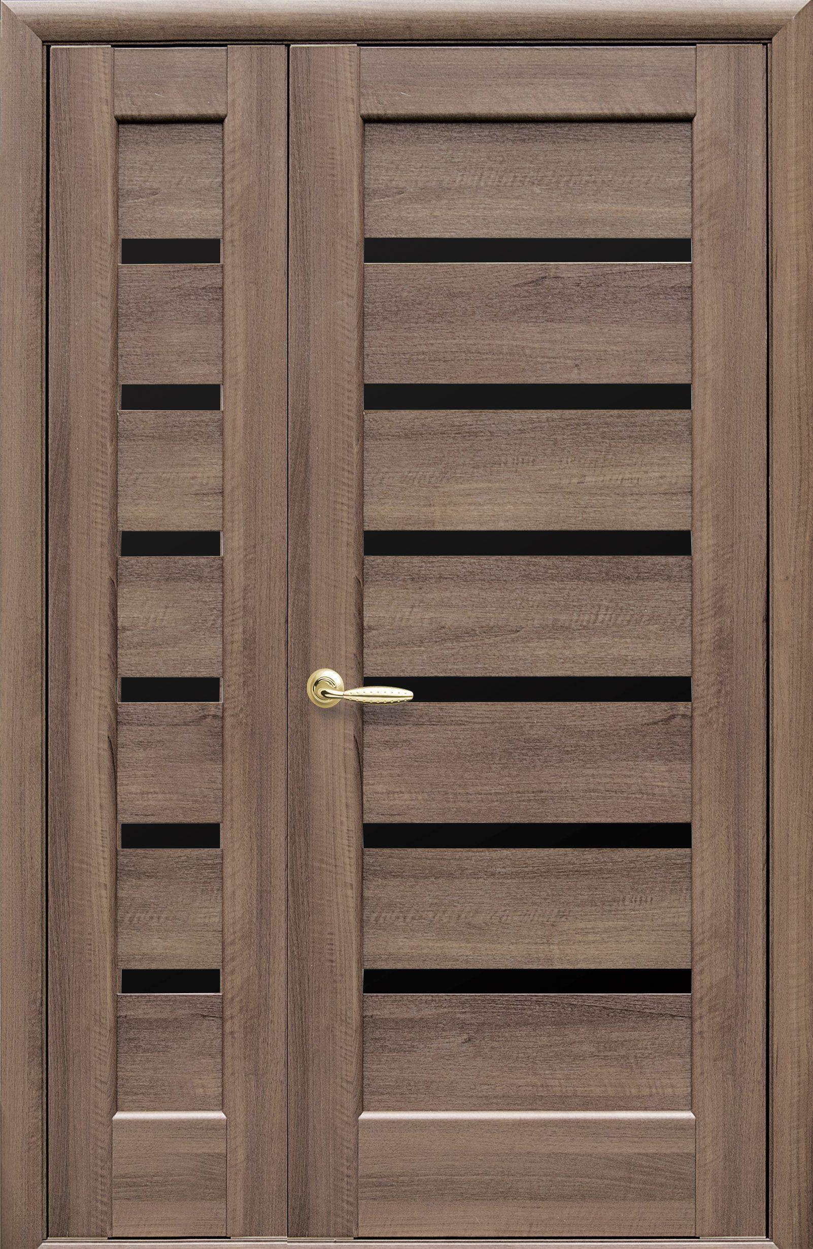 Двойные межкомнатные двери Линнея с черным стеклом
