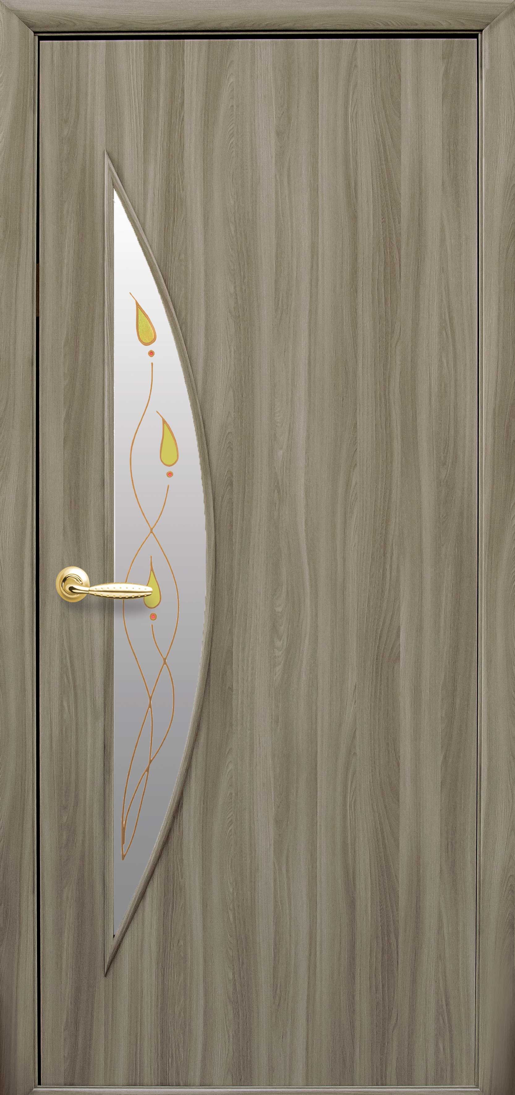 Межкомнатные двери Луна со стеклом сатин и рисунком Р1
