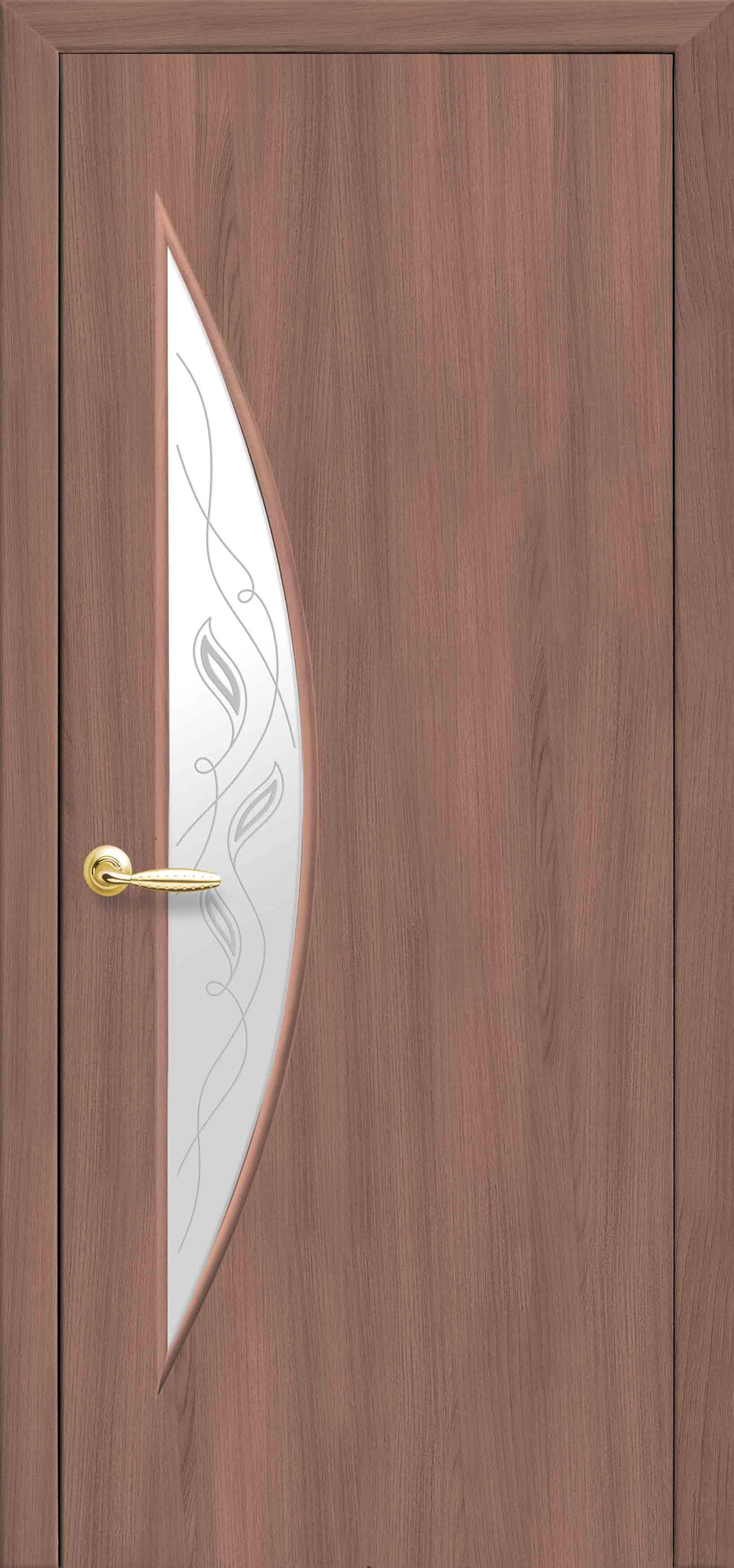 Межкомнатные двери Луна со стеклом сатин и рисунком Р2