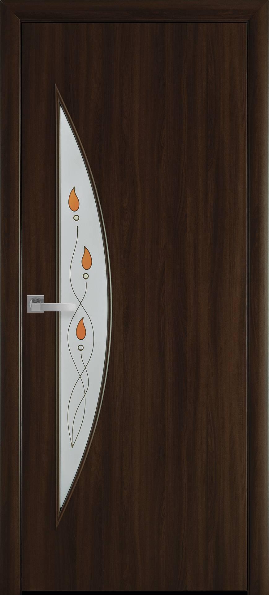 Межкомнатные двери Луна со стеклом сатин и рисунком