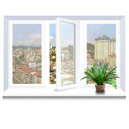 Металлопластиковое окно KBE трехстворчатое 2060х1400 мм