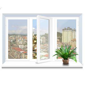 Металлопластиковое окно Rehau трехстворчатое 2060х1400 мм
