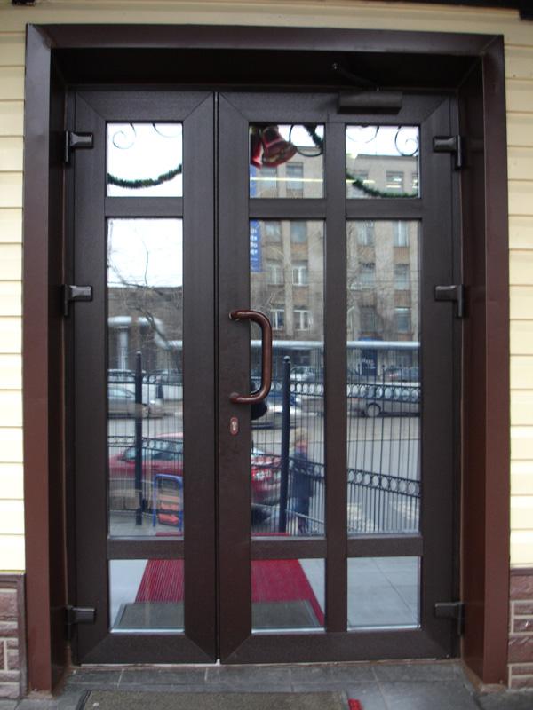 Металлопластиковые двери KBE 1200х2000 темный дуб