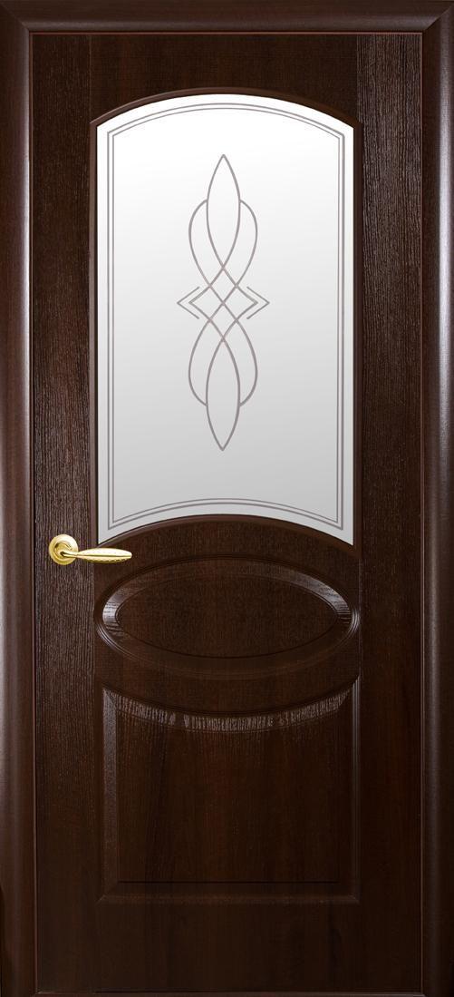 Межкомнатные двери Овал со стеклом сатин и рисунком