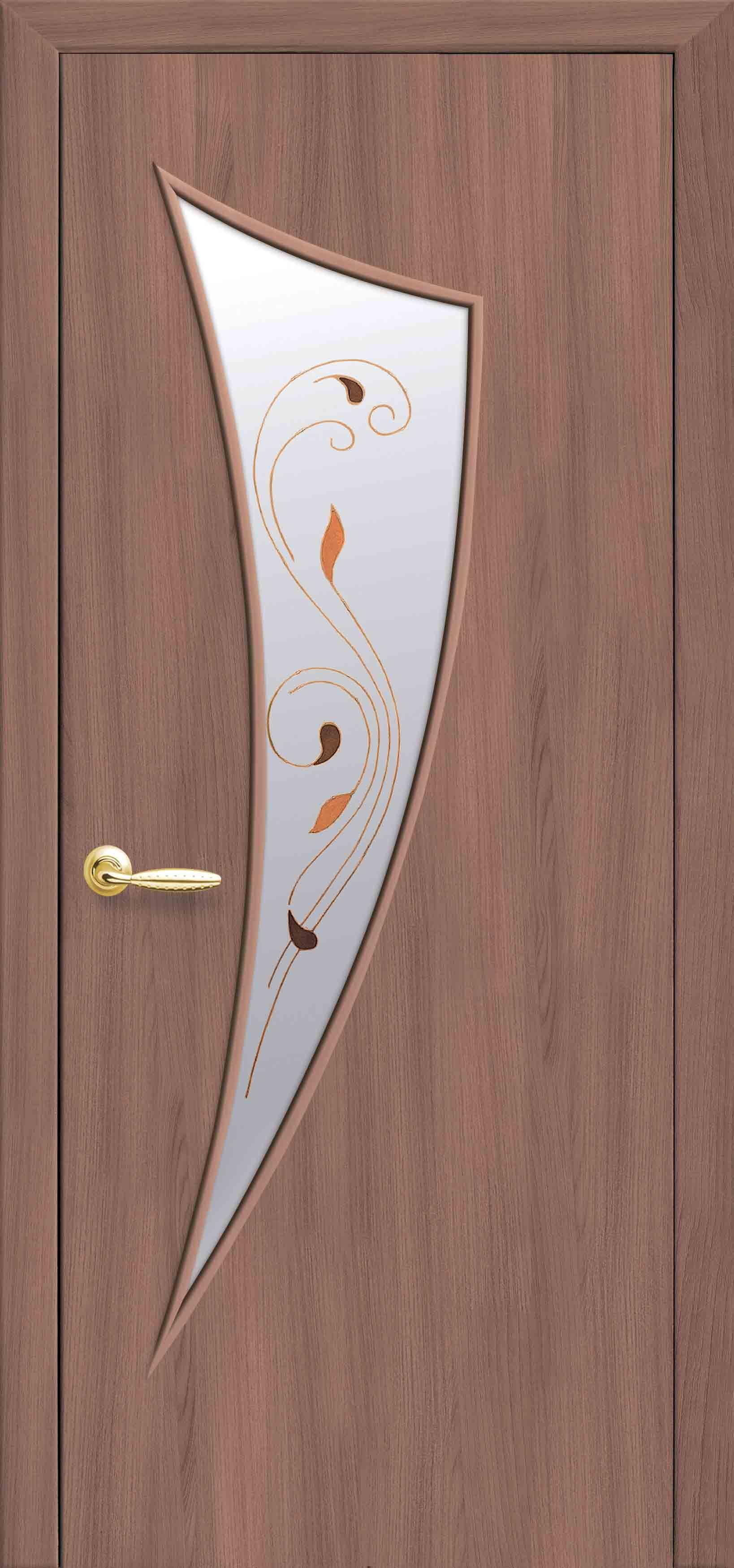 Межкомнатные двери Парус со стеклом сатин и рисунком Р1