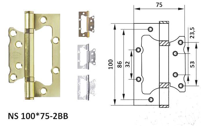 Петля дверная неврезная NS 100*75-2BB (к-т)
