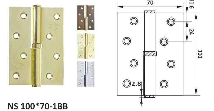 Петля дверная врезная NS 100*75-2BB (к-т)