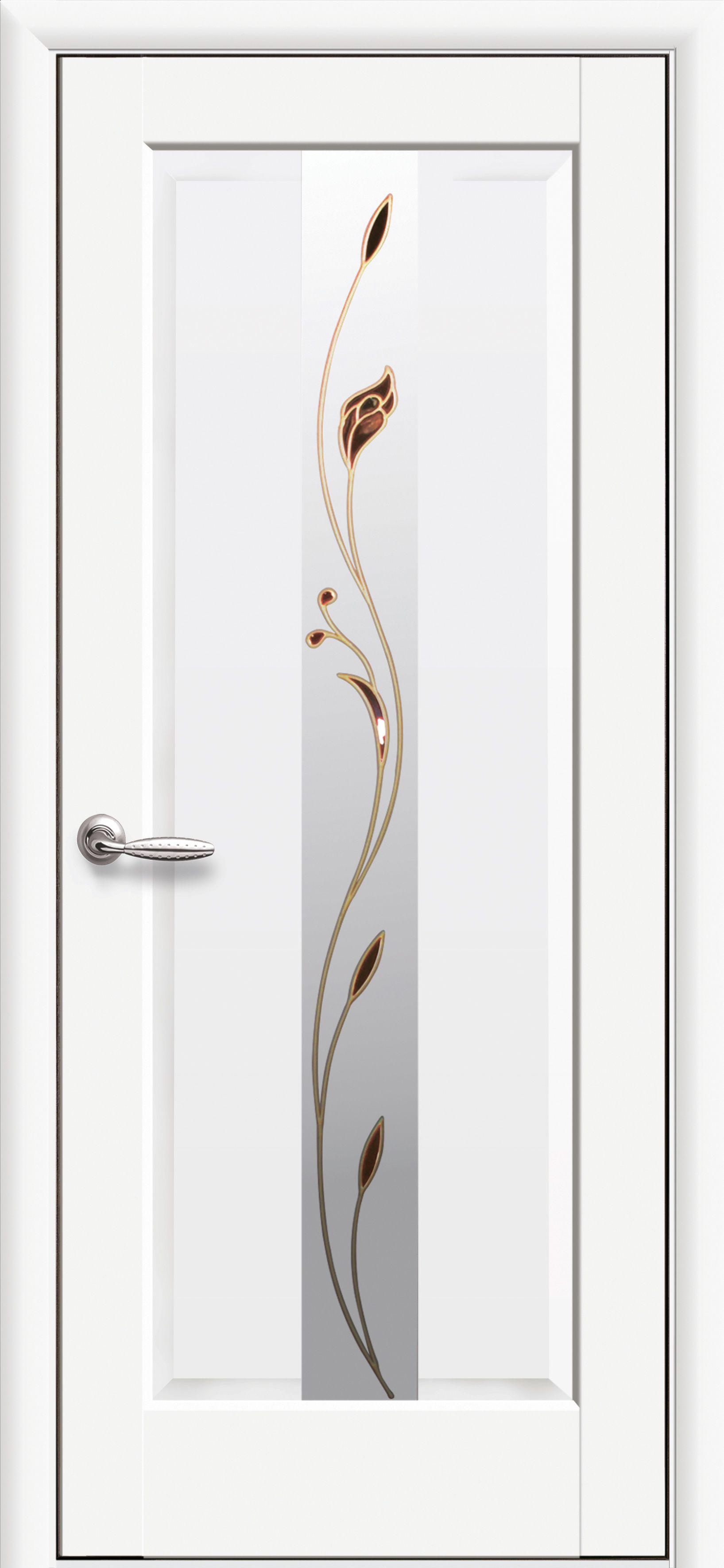 Межкомнатные двери Премьера со стеклом сатин и рисунком Р1