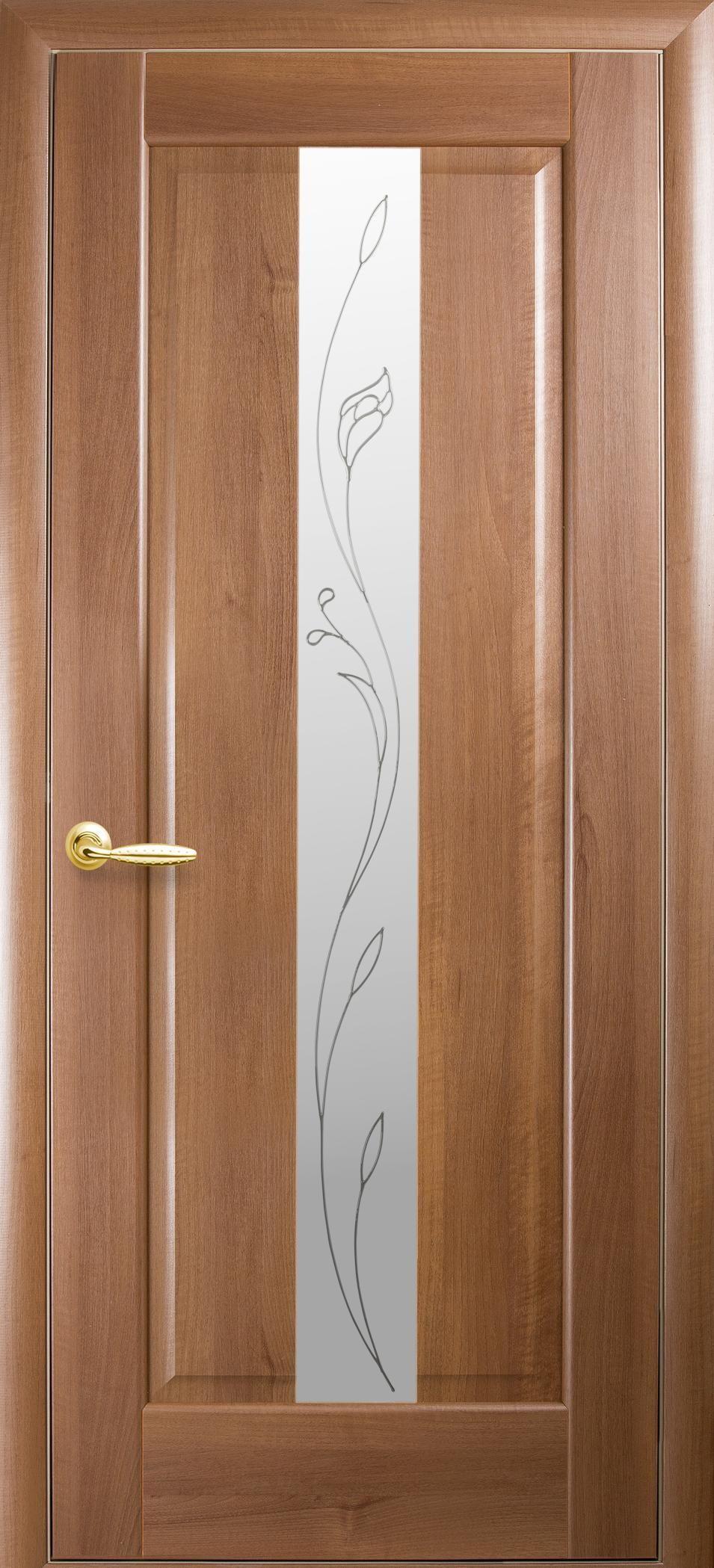 Межкомнатные двери Премьера со стеклом сатин и рисунком Р2