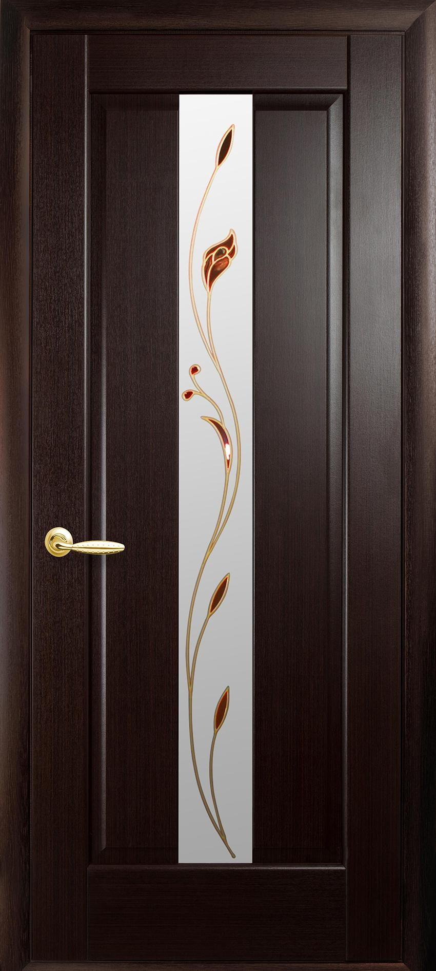 Межкомнатные двери Премьера со стеклом сатин и рисунком