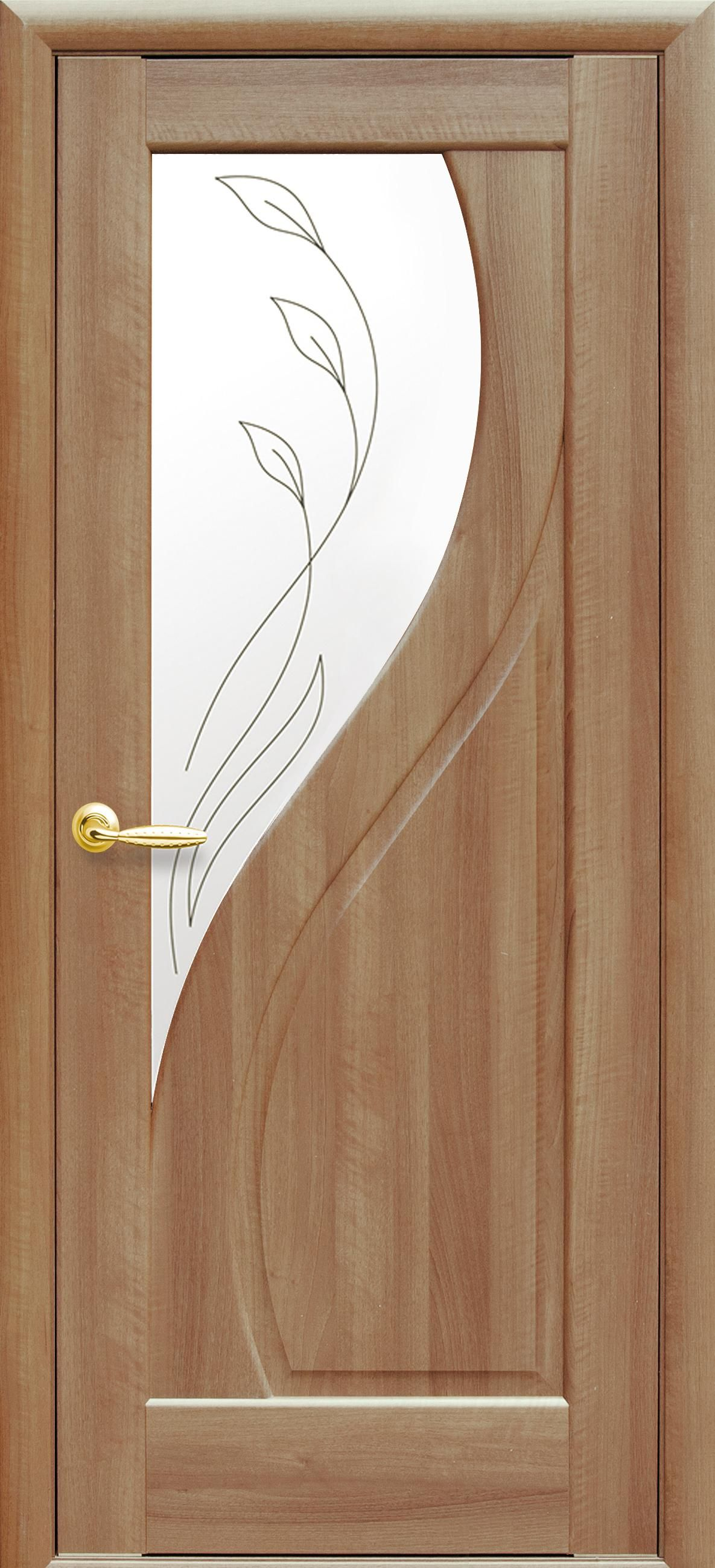 Межкомнатные двери Прима со стеклом сатин и рисунком Р2