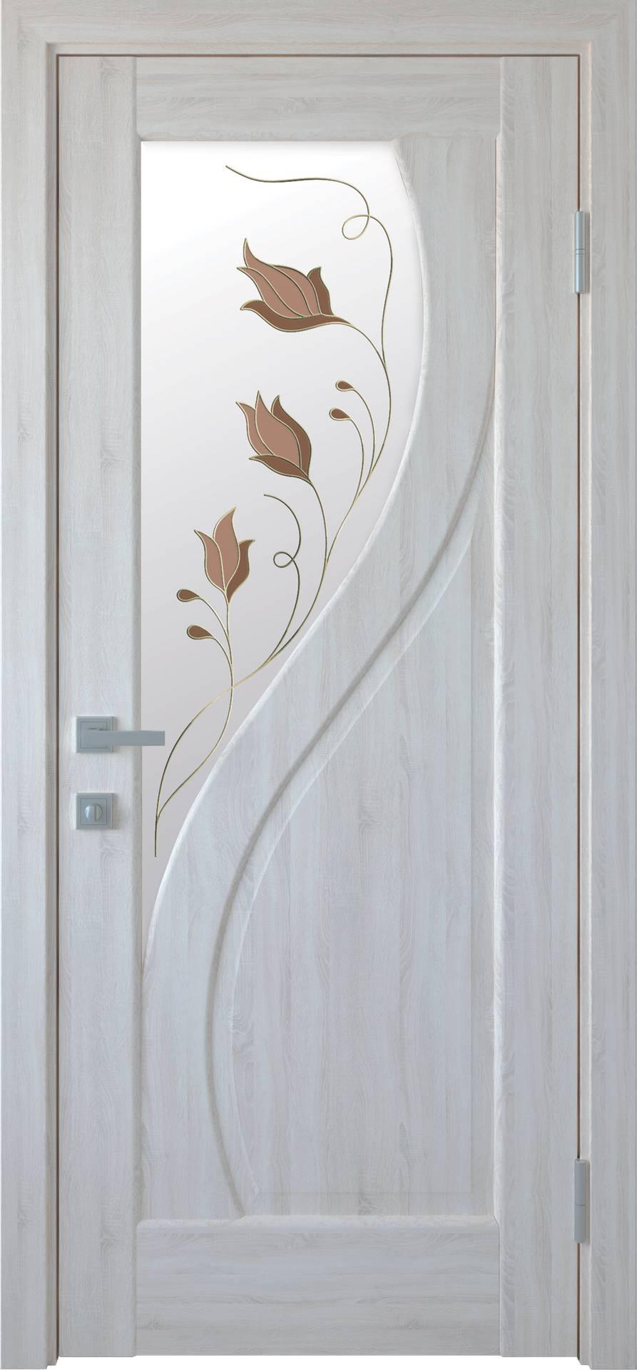 Межкомнатные двери Прима со стеклом сатин и рисунком Р1