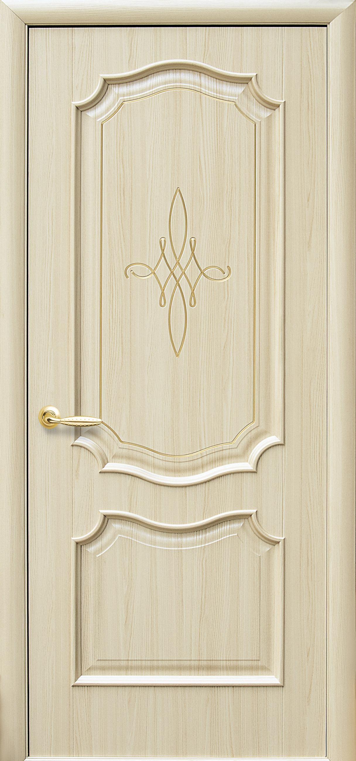 Межкомнатные двери Рока глухое с гравировкой Gold