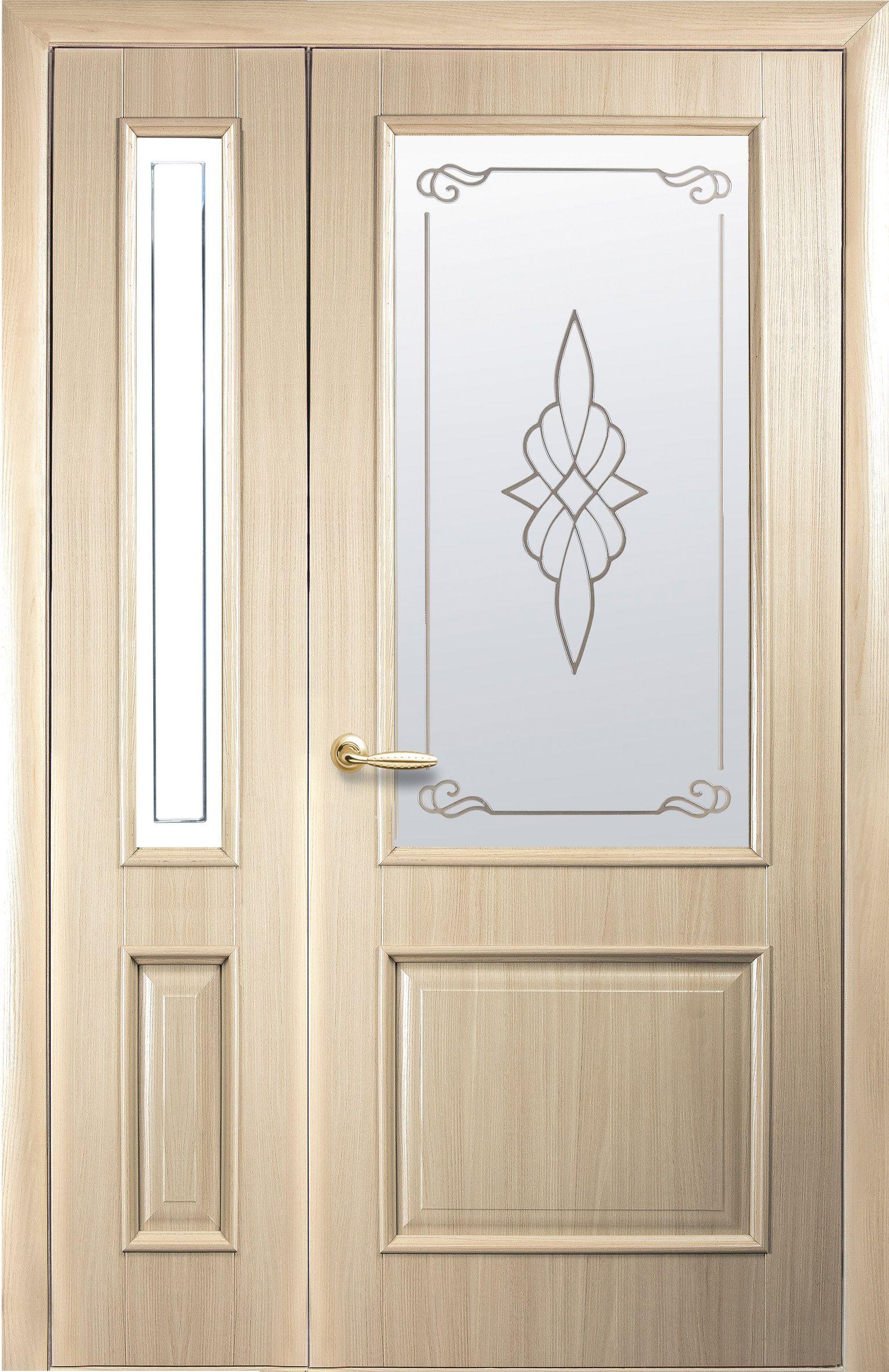 Двойные межкомнатные двери Вилла со стеклом сатин и рисунком