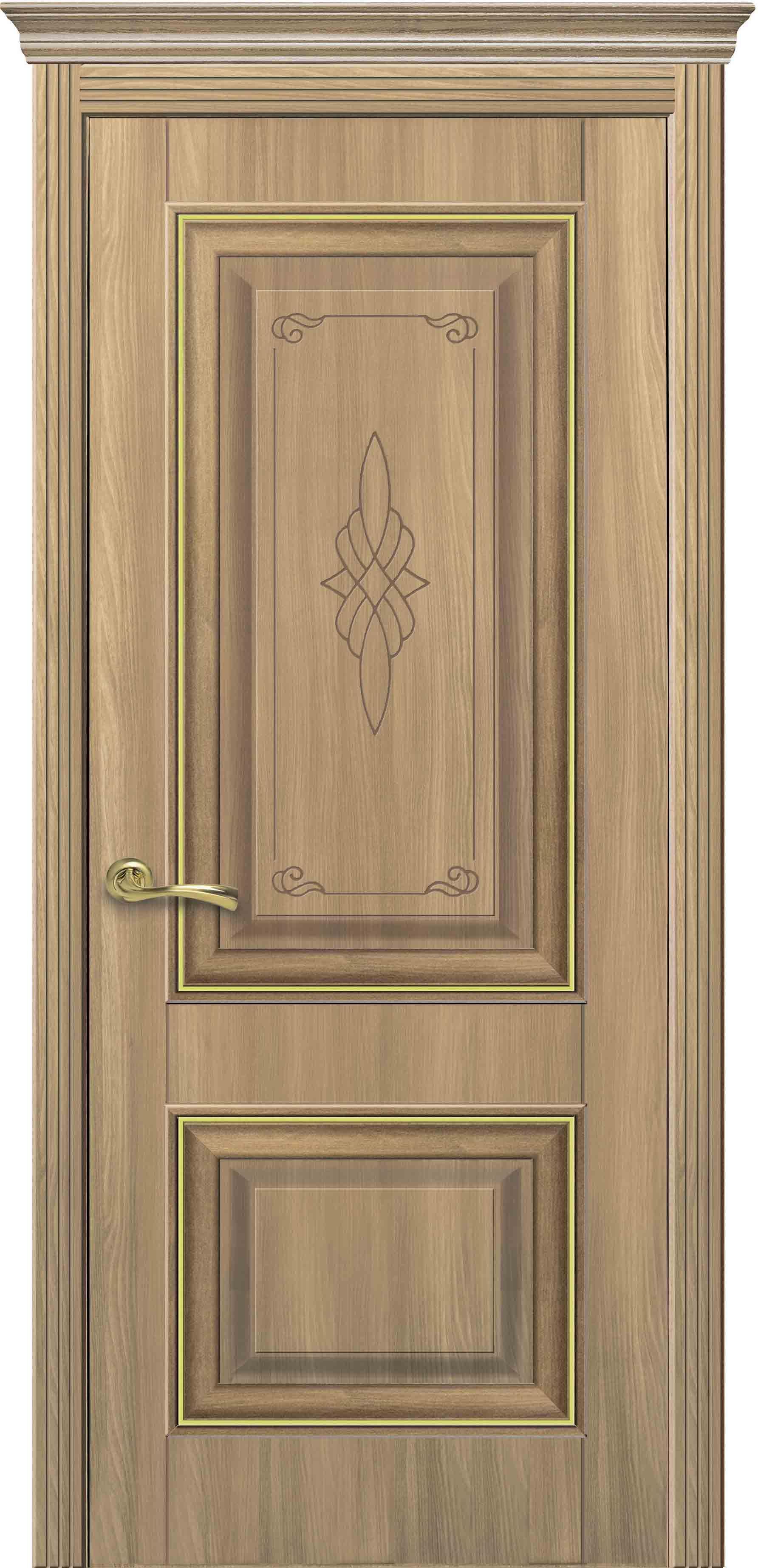 Межкомнатные двери Вилла Премиум глухое с гравировкой Gold