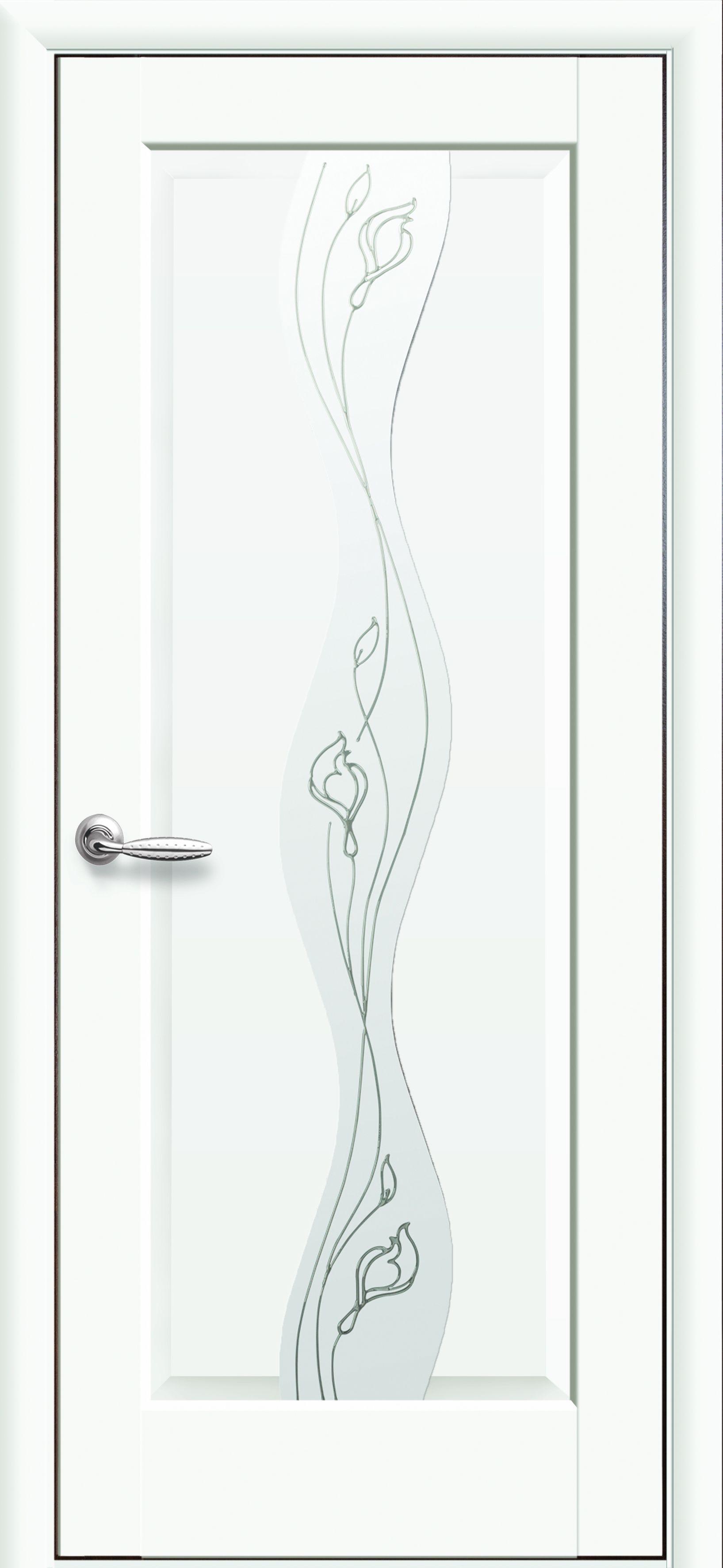 Межкомнатные двери Волна со стеклом сатин и рисунком Р2