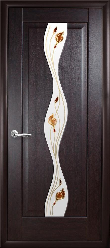 Межкомнатные двери Волна со стеклом сатин и рисунком Р1