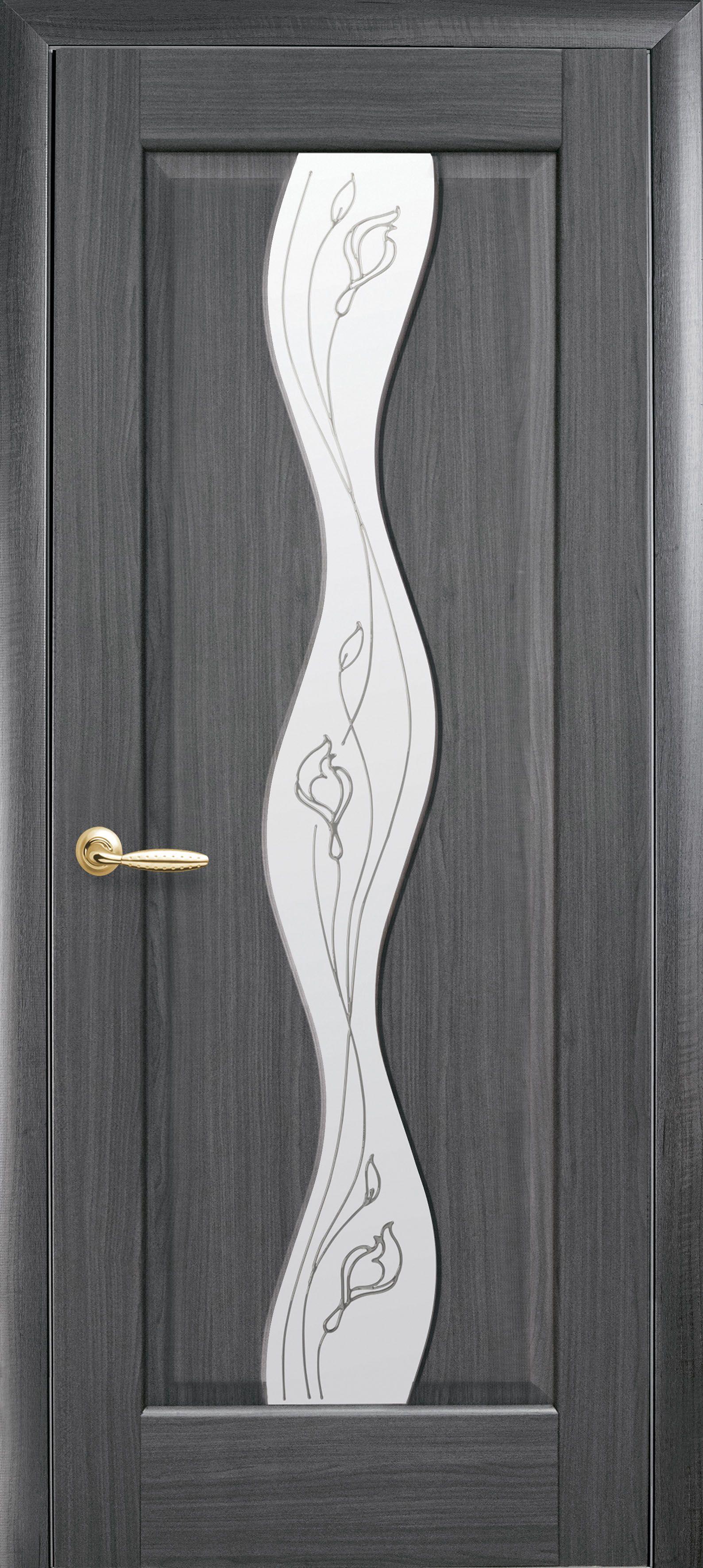 Межкомнатные двери Волна со стеклом сатин и рисунком