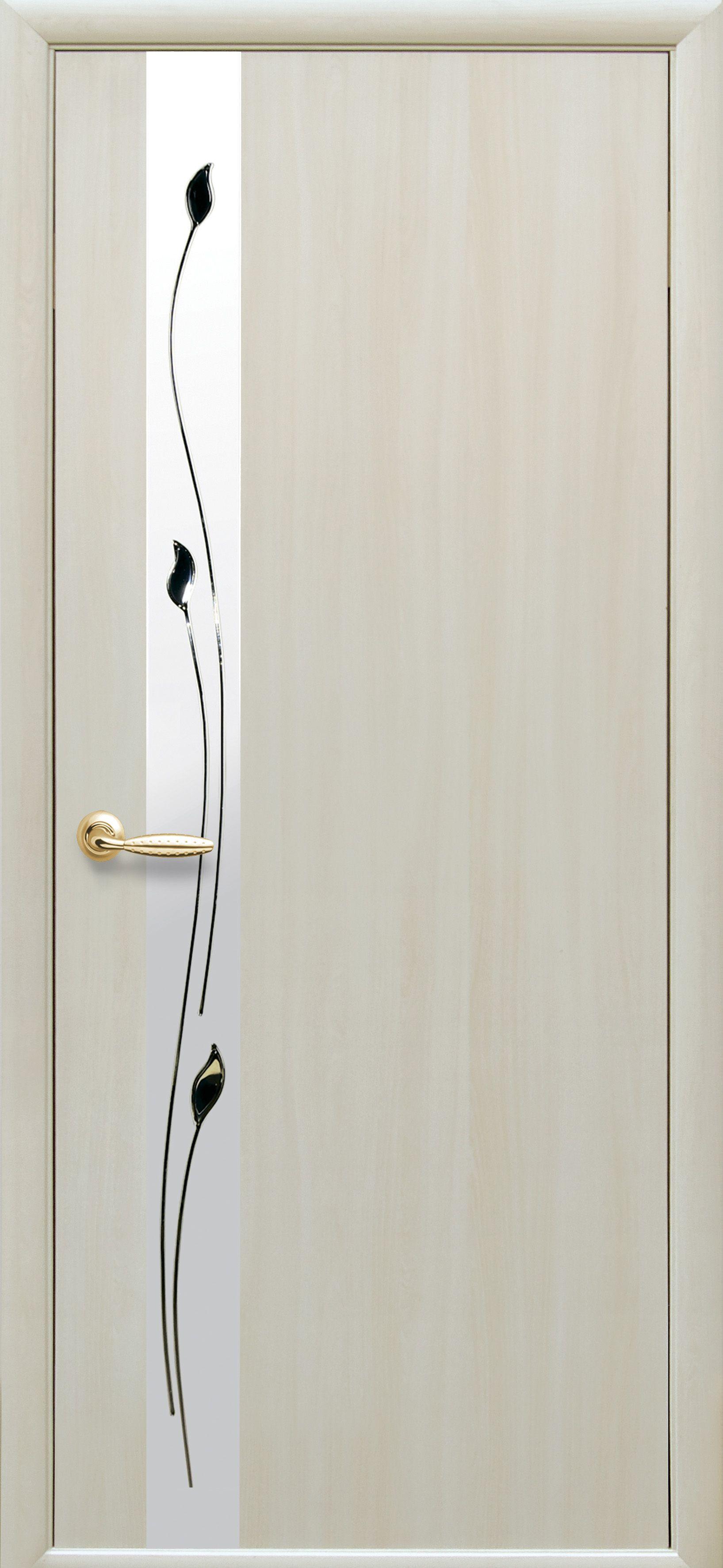 Межкомнатные двери Злата со стеклом сатин и рисунком