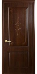Межкомнатные двери Вилла глухое с гравировкой, ПВХ DeLuxe Каштан