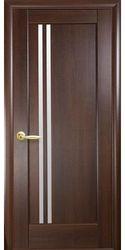 Межкомнатные двери Делла со стеклом сатин, ПВХ DeLuxe Каштан