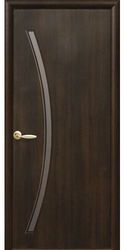 Межкомнатные двери Дива со стеклом сатин, ПВХ DeLuxe Каштан