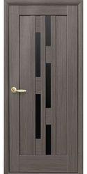 Межкомнатные двери Лаура с черным стеклом, ПВХ DeLuxe Серый