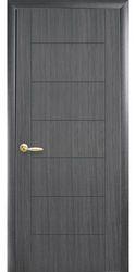 Межкомнатные двери Рина глухое с гравировкой, ПВХ DeLuxe Серый