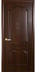 Межкомнатные двери Рока глухое с гравировкой, ПВХ DeLuxe Каштан