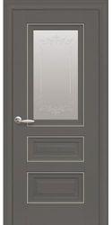 Межкомнатные двери Статус Со стеклом сатин, молдингом и рисунком , Premium Антрацит