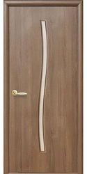 Межкомнатные двери Гармония со стеклом сатин, ПВХ DeLuxe Золотая ольха