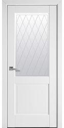 Межкомнатные двери Эпика со стеклом сатин и рисунком Р2, ПП Премиум Белый матовый