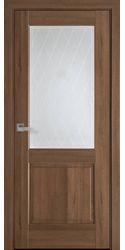 Межкомнатные двери Эпика со стеклом сатин и рисунком Р2, ПВХ DeLuxe Золотая Ольха