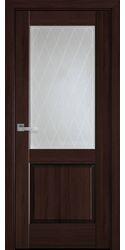 Межкомнатные двери Эпика со стеклом сатин и рисунком Р2, ПВХ DeLuxe Каштан