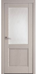 Межкомнатные двери Эпика со стеклом сатин и рисунком Р2, ПВХ DeLuxe Патина Серая