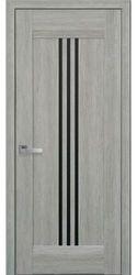 Межкомнатные двери Рейс с черным стеклом, Нано Флекс  Дуб сицилия