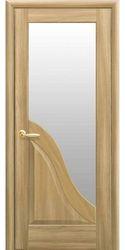 Межкомнатные двери Амата со стеклом сатин, ПВХ DeLuxe Золотой дуб