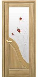 Межкомнатные двери Амата со стеклом сатин и рисунком Р1, ПВХ DeLuxe Золотой дуб