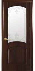 Межкомнатные двери Антре со стеклом сатин и рисунком, ПВХ DeLuxe Каштан