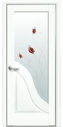Межкомнатные двери Амата со стеклом сатин и рисунком Р1, Premium Белый матовый