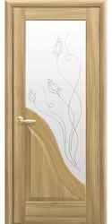 Межкомнатные двери Амата со стеклом сатин и рисунком Р2, ПВХ DeLuxe Золотой дуб