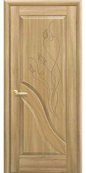 Межкомнатные двери Амата глухое с гравировкой, ПВХ DeLuxe Золотой дуб