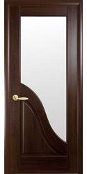 Межкомнатные двери Амата со стеклом сатин, ПВХ DeLuxe Каштан