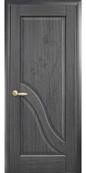 Межкомнатные двери Амата глухое с гравировкой, ПВХ DeLuxe Серый