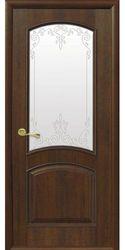 Межкомнатные двери Антре со стеклом сатин и рисунком Р2, ПВХ DeLuxe Орех premium